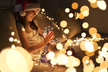 Christmas lights and a child