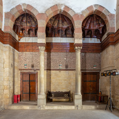 Wall at the main hall of Beshtak Palace (Qasr Bashtak), a Mamluk era ancient historic palace, located in an area called Bayn al-Qasrayn (between the two palaces) in Muizz Street, Cairo, Egypt