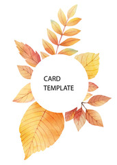 Watercolor autumn vector card template design of leaves and branches isolated on white background.