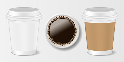 Set of Realistic paper take-out coffee cup. 3d paper mug for coffee, front and top view. Vector illustration