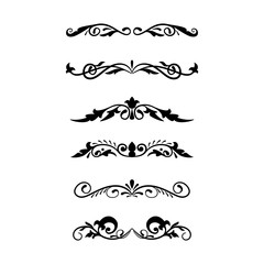 Hand drawn divider and corner set vintage style. Traced by hand from own sketch. Collection black floral decorative element