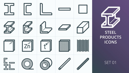 Metal and steel products icons. Metallurgy industry vector icons set. Set of expanded metal, i-beam steel bar, rolled steel, rebar, armature.