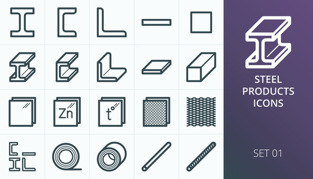 Metal and steel products icon set. Metallurgy industry vector icons set. Set of expanded metal, i-beam steel bar, rolled steel, rebar, armature isolated vector icons