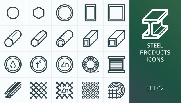 Metal and steel products icons set. Set of metal profile pipe, steel bars, rabitz mesh fence icons