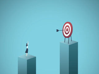 Business goal, objective, success vector concept. Businesswoman scoring bullseye with dart. Symbol of achievement, motivation, focus, precision, excellence.
