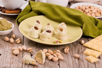 Pistachio truffles.