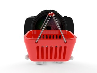 Camera character holding empty shopping basket