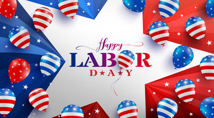 Happy Labor Day poster template.USA labor day celebration with American balloons flag,star and tools.Sale promotion advertising banner template for USA Labor Day Brochures,Poster or Banner