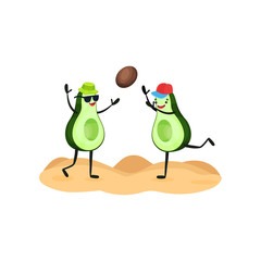 Two funny avocados playing ball at the beach, tropical humanized fruit characters spending time on the beach in summer holidays vector Illustration on a white background