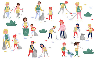Volunteers gathering garbage and plastic waste for recycling set, parents and children taking part in garbage collection, environmental protection and education concept vector Illustrations Wall mural