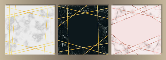 Marble Squared Card with Gold Line Set