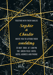 Wedding Luxury Geometric Invitation Card with Glitter