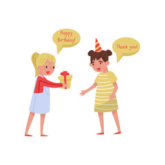 Excited little girl thanking her friend for Birthday present. Children with good manners. Flat vector illustration