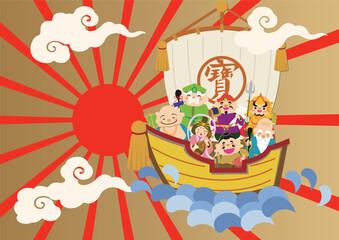 宝船と七福神のイメージ。お正月。年末年始。大売出し。