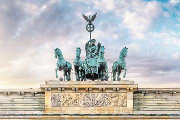 Closeup statue of the famous landmark in Berlin - the Brandenburger Gate