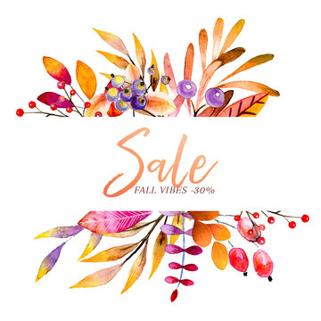 Hand drawn watercolor wreath of forest leaves, flowers, berries. Black friday discount. Autumn abstract branches. Mapple, orange, pumkin, guelder, dog rose. Season greeting, wedding card, sale banner.