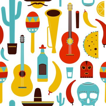 Motley Mexico seamless pattern with traditional Mexican items on white background - tequila, Lucha libre mask, chili pepper, sombrero, cactus, cigar, maracas, sugar skull