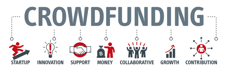 Banner Crowdfunding Money Business Icon Graphic Concept