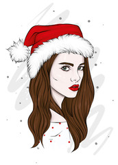 Beautiful girl in a Christmas hat. Vector illustration for a postcard or a poster, print for clothes. New Year and Christmas, fashion and style. Santa Claus.