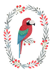 Watercolor illustrations of a parrot.  Perfect for greeting cards
