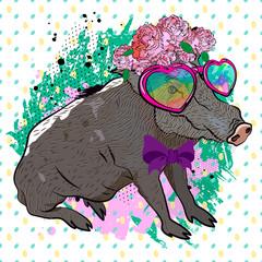 Romantic image of wild boar. Funny boar. Retro print for t-shirt.
