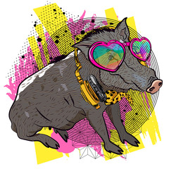 Cool boar. Comic print for t-shirt. Vector illustration. Fun graphic.