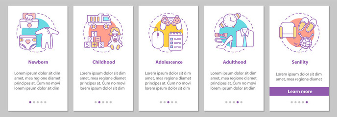 Human lifecycle onboarding mobile app page screen with linear co
