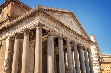 Facade of the Pantheon of Rome, Italy