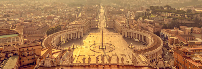 We banner, panoramic aerial view at sunrise of St Peter's square in Vatican, Rome Italy
