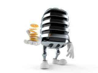 Microphone character with stack of coins