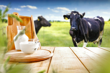 Wall Mural - Desk of free space and milk with cows.