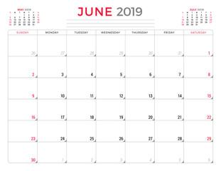 June 2019. Calendar planner stationery design template. Vector illustration. Week starts on Sunday