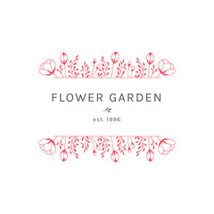 Vector floral hand drawn logo template in elegant and minimal style.