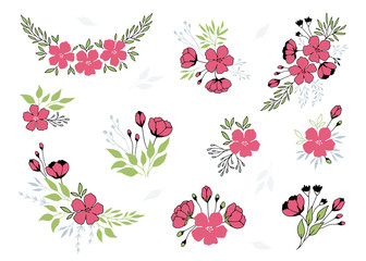 Vector set of hand drawn floral bouquets. Flowers and leaves in elegant arrangements