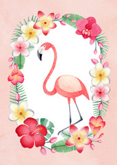Watercolor  tropical floral wreath and a flamingo. Perfect for greeting card or invitation