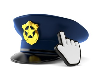 Police hat with web cursor