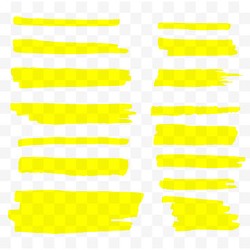 Highlighter brush set. Hand drawn yellow highlight marker stripes. Vector illustration