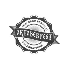 Oktoberfest celebration. Beer festival retro style badge, label, emblem. Black on white background. Vector illustration. Beer label template