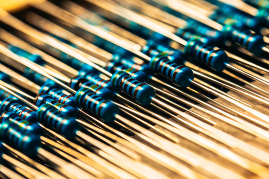 many new resistors stay together in close-ups