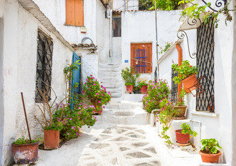 Fototapete - Scenic street with old houses in Anafiotika in Plaka district, Athens, Greece