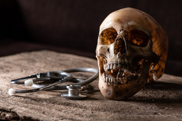 the abstract image of the skull laying on wooden floor. the concept of halloween, death, horror, scary and  still life.