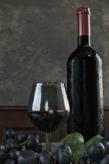 3d rendering of fresh picked grapes in front of glass wine and bottle