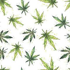 Watercolor cannabis pattern