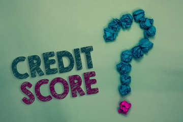 Text sign showing Credit Score. Conceptual photo Represent the creditworthiness of an individual Lenders rating Crumpled papers forming question mark several tries unanswered doubt.