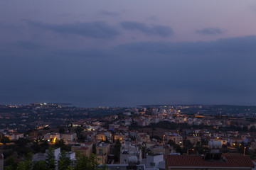 View of the evening coastal city. Cyprus.