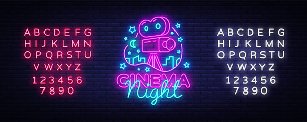 Cinema Night Neon Logo Vector. Movie Night neon sign, design template, modern trend design, night neon signboard, night light advertising, light banner, light art. Vector. Editing text neon sign