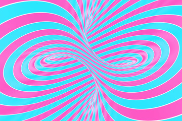 Confection festive pink and blue spiral tunnel. Striped twisted lollipop optical illusion. Abstract background. 3D render.