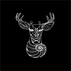 An illustration of a psychedelic deer. Fractal spiral flower and deer.
