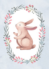 Watercolor illustration of a cute bunny. Perfect for greeting card