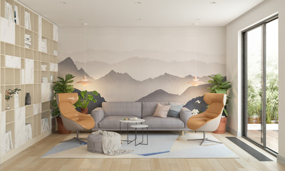 Modern living room, 3d illustration Wall mural